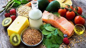 Healthy food including lean meats low fat milk whole grains and vegetables